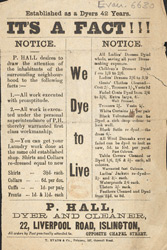 Advert for P Hay, dyeing & cleaning works